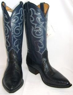 Vintage Nocona Cowboy Boots Navy Blue and White | Cowboys, Boots ...