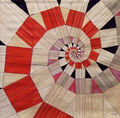 Guidette Carbonell - tapisserie Spirale logarithmique, 1971, textile cousu et collé, 200 x 200 cm