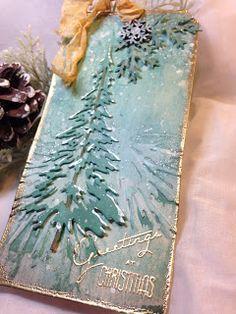 Uses Pine branch folder --- sarascloset: Greetings at Christmas Tag---detailed tutorial Christmas Paper Crafts, Christmas Cards To Make, Christmas Gift Tags, Xmas Cards, Christmas Projects, All Things Christmas, Handmade Christmas, Holiday Cards, Christmas Greetings