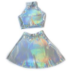 Holographic Twin Set Sleeveless Turtle Neck Crop and High Waist Skater... (280 BRL) ❤ liked on Polyvore featuring dresses, skirts, tops, outfits and high waisted two piece