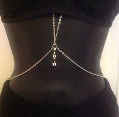 Sexy Silver tone Rhinestone drop accented double body / belly chain - beach, bikini, crop top jewelry- over/under outfit  36 in neck by 26