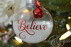 DIY Glitter Christmas Ornaments. Learn how to make these glittery Christmas ornaments with your Silhouette machine.