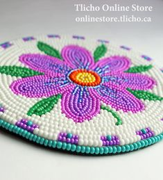 Beaded Coaster by Dene artist, Dora Duncan. $117