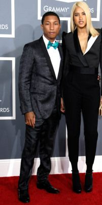 Colorful outfits at the Grammys 2013 http://attireclub.wordpress.com/2013/02/12/what-did-the-men-wear-at-the-grammy-awards-2013/ #Pharell Williams