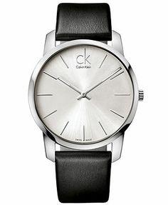 ck Calvin Klein Watch, Men's Swiss City Black Leather Strap 43mm K2G211C6