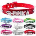 Bling Personalized PU Leather Small Dog Collar Leash Set