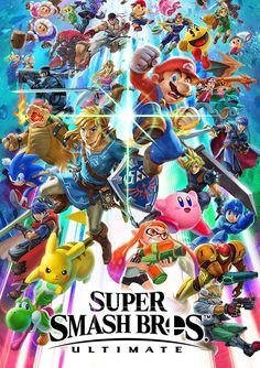 1 Super Smash Bros Ultimate Video Gamer Poster Kirby Nintendo Switch Pokemon NEW Super Smash Bros Brawl, Nintendo Super Smash Bros, Super Mario Bros, The Legend Of Zelda, Super Smash Ultimate, Cute Office, Nintendo Characters, Keys Art, Wallpaper Iphone Disney