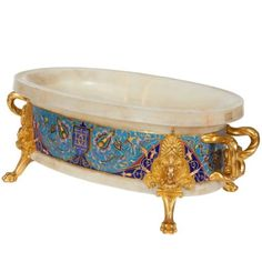 Ormolu Cloisonne Champleve Enamel Onyx Jardiniere Centerpiece, F. Vintage Centerpieces, Cool Furniture, Art Decor, Decorative Bowls, Auction, Ceramics, Antiques, Stuff To Buy, Enamels