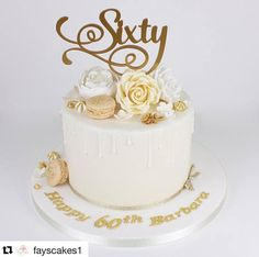 Rose gold cake, Rose gold birthday cake, glittery birthday cake with airbrushed ombre tier. 50th Birthday Cake For Mom, Birthday Cake For Women Simple, 60th Birthday Cake Toppers, 70th Birthday Parties, Grandma Birthday Cakes, 60 Birthday, Celebration Cakes, Birthday Celebration, Mom Cake