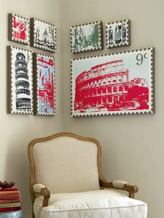 Make 'stamp' wall art out of your favourite photos Weekend Projects, Your Favorite, Muse, Walls, Stamp, Crafty, Wall Art, Holiday Decor, How To Make
