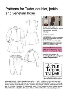 Pattern for Men's Tudor Doublet, Jerkin and Venetian Hose - Small Sizes Renaissance Costume, Medieval Costume, Renaissance Clothing, Renaissance Men, Historical Costume, Historical Clothing, Tudor Tailor, Venetian Costumes, Tudor Era