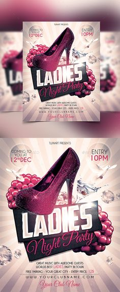 Ladies Night Party Flyer Template PSD #design Download: http://graphicriver.net/item/ladies-night-party-flyer/13321064?ref=ksioks