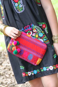 Deep Red and Multi Colored Mexican textile hand by CasaOtomi