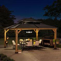 Outdoor Pavillion, Backyard Pavilion, Backyard Gazebo, Backyard Patio Designs, Yard Design, Backyard Projects, Patio Ideas, Yard Ideas, Gazebo On Deck