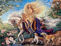Epona - Mother horse goddess of Earth, Epona was invoked during the equinoxes to bring about smooth passage of the seasons. reinforcing her power to deftly deal with transitions. As an Earth goddess, she is hailed for her grounding nature, particularly needed during times of crisis or flux in life. Always depicted upon a horse (another Celtic sign of fertility), Epona would also serve as the guardian of new life. She would welcome safe arrival of new babies as well as new crops.