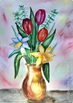 Мастер-класс Урок рисования 8 марта Рисование и живопись Букет к 8 Марта Акварель фото 29