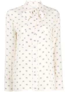 Valentino Vlogo Silk Crepe De Chine Blouse In White White Silk, Silk Crepe, Printed Blouse, Casual Wear, Women Wear, Glamour, Couture, Long Sleeve