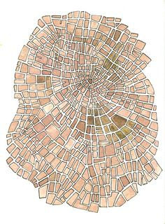 "walldecoration for those who love travelling in thoughts: ""Plum Grid"" map artwork painted with watercolors and pen in brown and orange 
