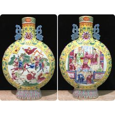 "Excited to share this item from my #etsy shop: 13.8"" Chinese Antique Porcelain Flat Vase Moon Flask Handmade Seal Mark Vintage Ceramic Pottery"