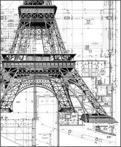 La Tour Eiffel (plan) Architecte : Gustave Eiffel & Cie Paris c. Art Et Architecture, Architecture Details, Chinese Architecture, Installation Architecture, Classic Architecture, Construction Drawings, Construction Process, Civil Engineering, Autocad