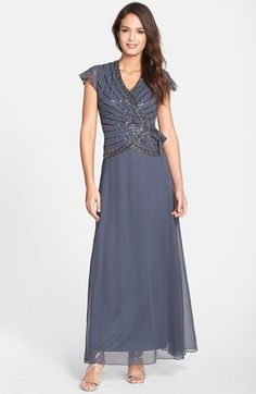 Free shipping and returns on J Kara Embellished Mock Two-Piece Gown at Nordstrom.com. Inky sequins and beads wrapping the side-gathered bodice of an elegant crepe gown offer shimmering contrast to the sweeping matte skirt.