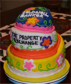 Topsy Turvy Cake with 3 different flavors of cake.