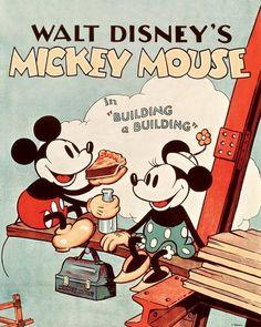 Disney - Canvas Schilderij - Mickey Building a Building - cm Posters Disney Vintage, Retro Disney, Vintage Cartoons, Disney Movie Posters, Cartoon Posters, Disney Mouse, Vintage Disney Art, Punk Disney, Vintage Mickey Mouse