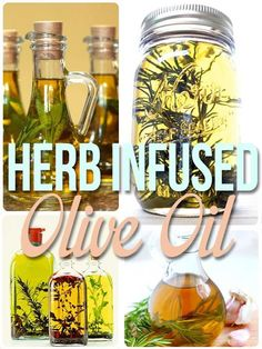 Herb infused olive oil: 1 tablespoon dried herbs (or more!) in a glass bottle, and fill the rest with olive oil. Let stand for at least 1 week and up to 2 months to really let the flavors set in. Flavored Olive Oil, Flavored Oils, Infused Oils, Cooking Tips, Cooking Recipes, Healthy Recipes, Do It Yourself Food, Sauces, Olives