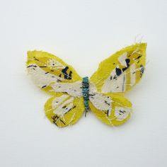 Fabric butterfly brooch YELLOW by abigailbrown on Etsy