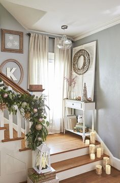 Stair Landings Are Good Spots For Holiday Decor Set Out Lanterns And Led Candles