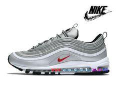 hot sale online 5df52 672ce Nouveau Nike Air Max 97 iD - Chaussures Nike Sportswear Pas Cher Pour Homme  Argent   Rouge 884421 001-1803300431-Nike Boutique de Chaussure Baskets  Site ...