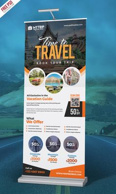 Free Tour Travel Roll-Up Banner PSD will help you to promote tour operators, travel agents, tour pac Web Design, Flyer Design, Graphic Design, Pull Up Banner Design, Rollup Design, Tumblr Ocean, Banner Design Inspiration, Travel Inspiration, Design Ideas