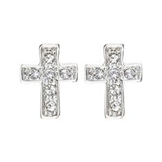 Magic Collection 18k Yellow/White Gold Plated Cubic Zirconia Cross Design Stud Earrings (18k White Gold Plated) - http://www.wonderfulworldofjewelry.com/jewelry/religious-jewelry/religious-earrings/magic-collection-18k-yellowwhite-gold-plated-cubic-zirconia-cross-design-stud-earrings-18k-white-gold-plated-com/ - Your First Choice for Jewelry and Jewellery Accessories