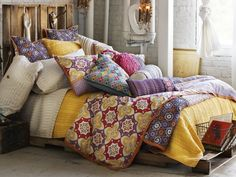 bohemian bedroom design:attractive cool bed set plus black wire storage also white exterior brick wall on rustic bohemian bedroom ideas