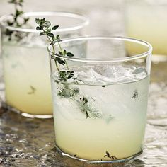 Limoncello gin cocktail with thyme. Try Albergian gin and limoncello in this cocktail! Best Gin Cocktails, Cocktails To Try, Cocktail Drinks, Alcoholic Drinks, Beverages, Cocktail Shaker, Limoncello Cocktails, Homemade Limoncello, Italian Cocktails