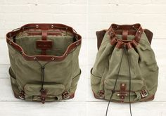 open and closed leather backpack