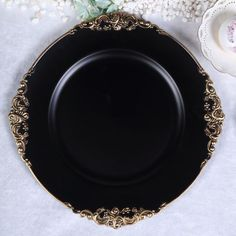 Pack of 6 - Matte Black Round Baroque Charger Plates, Leaf Embossed Gold Rim Matte Black, Black Gold, Black 13, Color Black, Traditional Dinnerware, Gold Chargers, Wedding Cake Stands, Thing 1, Square Plates