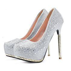 Women's Pumps wedding shoes sexy high heels platform rhinestone woman sandals (6.5)