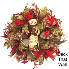Country Christmas Mesh Wreath with Snowman