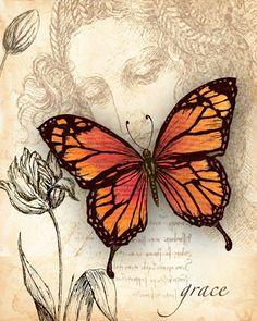 Three Sisters & # s Art Licensing Program - Schmetterling Butterfly Cards, Monarch Butterfly, Printable Butterfly, Butterfly Table, Vintage Pictures, Vintage Images, Vintage Prints, Vintage Art, Decoupage Paper