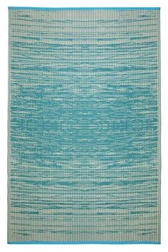 OUTDOOR RUG - 'BROOKLYN' TEAL & CREAM | Lounge Around