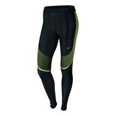 Nike Power Speed Laufhose - Lang Damen - Schwarz, Neongelb