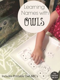Owl Themed Name Game for Kids using free printables.