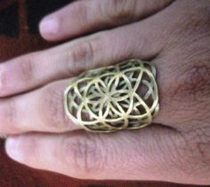 Double seed of life Brass Sacred geometry Ring on Etsy, $25.00