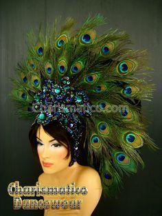 Charismatico Dancewear Store - Peacock Showgirl Headdress, $160.00 (http://www.charismatico-dancewear.com/products/Peacock-Showgirl-Headdress.html/)