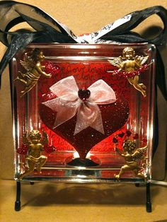 """""""Cupid's Heart"""" - Lighted glass block...great Valentine gift!"""