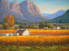 Willie Strydom - Vineyard in the Valley x Abstract Landscape Painting, Watercolor Landscape, Landscape Art, Landscape Paintings, Oil Paintings, South African Artists, Africa Art, Sculpture Art, Cape Dutch