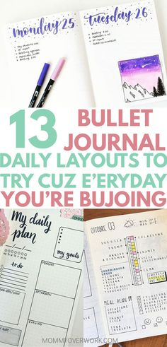 Increase productivity and regain your time by tracking your day to day with these BULLET JOURNAL DAILY LOG LAYOUTS and SPREADS. Whether you need a detailed schedule by the hour, want to establish a routine, or simply want a timeline tasks tracker, these simple bujo page ideas will make your day. From minimalist to washi tape headers and the ornate, this list of dailies for your planner will have you covered. #bujojunkies #bulletjournalcollection #bujocommunity