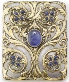 Cigarette Case; Gold & Silver, Farnham Design, Tendrils & Flowerheads, Sapphires, 3 inch. Category:silver & gold Type:boxes, caskets & caddies | JV