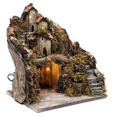 Borghetto con capanna 35x30x25 cm con luci e pompa presepe napoletano 3 Christmas Village Display, Christmas Villages, Diy Home Crafts, Clay Crafts, Diy Waterfall, Bonsai Garden, Fairy Doors, Diorama, Miniature Houses